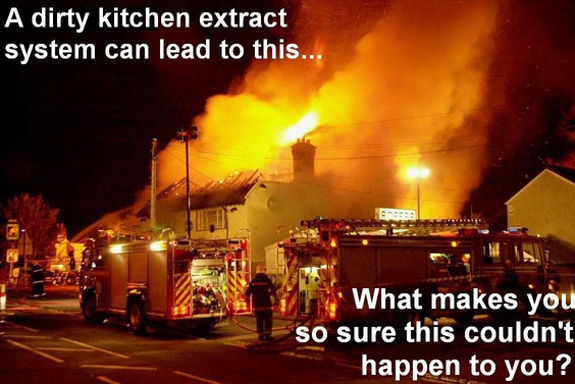 burning building - dirty kitchen extract system